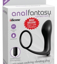 analfantasy ass-gasm vibrator - anal finger with penis ring (black)