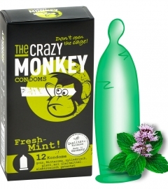 Crazy Monkey Fresh Mint - mentolové kondómy (12ks)