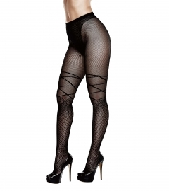 BACI - RIBBON AND BOW JACQUARD PANTYHOSE QUEEN SIZE