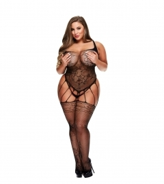 Baci - Strappy Bodystocking with Garters Queen Size