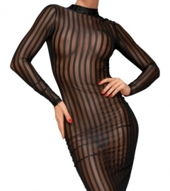 Noir - Long-sleeved, transparent striped dress (black)