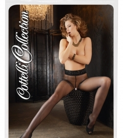 Crotchless Tights with a Lace Waistband